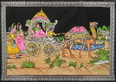 Queen on Camel Carriage (Painting on Cloth with Sequin Work - Unframed)