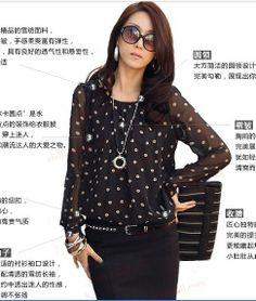 2014 New Spring summer womens shirts top polka dot chiffon long sleeve loose lace dot blouse for women plus size M/L/XL/XXL/XXXL