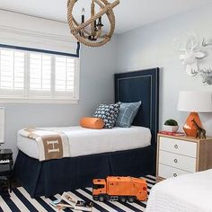 Blue and Orange Kids Bedroom, Contemporary, Boy's Room