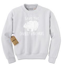 Save The Chubby Unicorns Rhino Adult Crewneck Sweatshirt