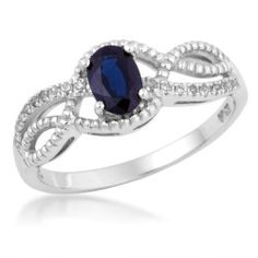 Ladies Sapphire and Diamond Ring in White Gold