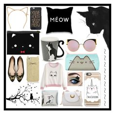 """Cats :3"" by pokemongirl111 ❤ liked on Polyvore featuring Tasha, Miya Company, Fendi, Pusheen, Kate Spade, WALL and Casetify"