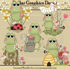 Spring Frogs - Clip Art