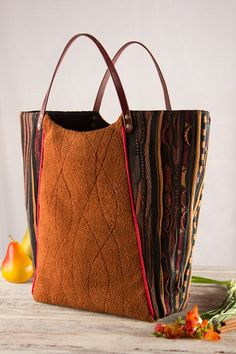large top handle Tote Shoppper market bag in fall by karenlukacs