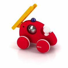 Firetruck Push Along Toy by BRIO Ring the bell, start the truck and extend the ladder. This Firetruck Push Along Toy by BRIO stimulates the imagination for hou