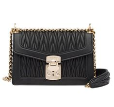52e69db375e375 Miu Miu Small Confidential Matelasse Black Convertible Calfskin Leather  Cross Body Bag - Tradesy