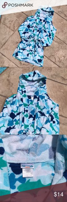 Summer Sale!  Terry swimming pool robe size 7-8, Bright terry robe with matching belt!  Snuggle up after a swim! 🐳 Swim Coverups