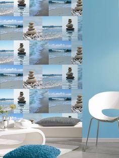 Pacifica - Blue - wallpaper - behang - oceanic - zee - Nautisch - Maritiem