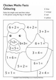 Chicken maths facts colouring page is part of Math facts - Kindergarten Math Worksheets, School Worksheets, Teaching Math, Math Activities, Easter Worksheets, Math Sheets, Homeschool Math, Math Facts, First Grade Math