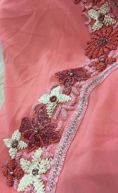 Sequence & beads work on caftan Pearl Embroidery, Tambour Embroidery, Couture Embroidery, Indian Embroidery, Hand Embroidery Designs, Embroidery Patterns, Mirror Work Dress, Moroccan Dress, Bead Crochet