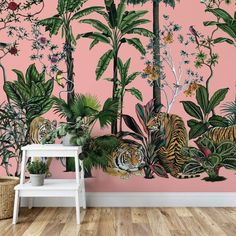 Tiger Summer Pink Botanical Removable Wallpaper Wall Mural / Chinoiserie temporary wall mural / tropical wallpaper peel and stick mural 561 Temporary Wallpaper, Vinyl Wallpaper, Wallpaper Samples, Self Adhesive Wallpaper, Peel And Stick Wallpaper, Tiger Wallpaper, Pink Jungle Wallpaper, Glitter Wallpaper, Pop Art Decor