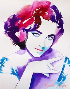 Elizabeth Taylor Rocks Art Print Original by KimberlyGodfrey