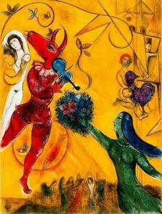 """Marc Chagall: """"The Dance"""", 1951. (Musée National d'Art Moderne, Centre Georges Pompidou, Paris, France.) https://www.centrepompidou.fr/"""