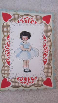 Items similar to vintage Valentines Day card girl, on Etsy My Funny Valentine, Valentines Greetings, Vintage Valentines, Valentines Day, Doll Patterns, Crochet Patterns, Happy Hearts Day, Heart Day, Used Iphone