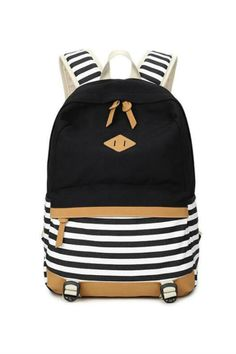4d8826bd0ebb Black Striped Canvas Backpack. 2016 preppy school bags backpack for girls  teenagers cute canvas striped printing women backpack bag Female escolar  mochilas