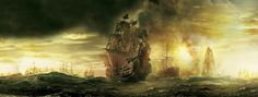 Imagining an expanded universe built around the popular Pirates of the Caribbean franchise Pirate Fashion, Image C, Banner Backdrop, Pirates Of The Caribbean, Sailing Ships, Backdrops, Battle, Universe, Scene