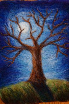 Felted Tree Wall Hanging by Nalii Padilla De-Lap Featured on… Nuno Felting, Needle Felting, Felt Wall Hanging, Felt Pictures, Felt Tree, Wool Art, Felt Animals, Felt Crafts, Textile Art