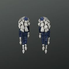 Cartier. White gold earrings with sapphires and brilliants