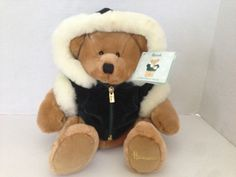 Harrods Christmas Bear HAND PUPPET Bear HTF 2001 Green velvet jacket #Harrods #Christmas