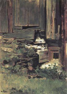 Liebermann, Max: Baufälliges Haus, 1870.