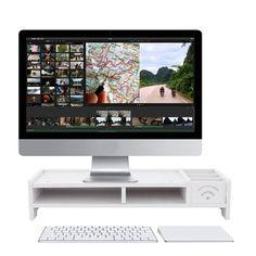 "vidaXL TV Stand Monitor Riser 39.4/"" Black Glass Computer LCD Desktop Shelf"