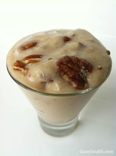 Clean Maple Pecan Ice Cream This recipe is vegan, gluten-free, dairy-free, 1 minute recipe, single serving, clean and guilt free. www.damyhealth.co...