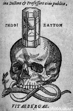 century woodcut illustration depicting a skull, a snake and an hourglass. The snake has a crucifix in its head. This illustration was first published in De methodo medendi liber unus by Andreas Planer, printed as Basle in Medieval Tattoo, Medieval Drawings, Medieval Art, Memento Mori, La Danse Macabre, Woodcut Tattoo, Dance Of Death, Occult Art, Desenho Tattoo