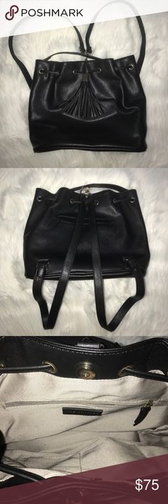 The Limited faux leather backpack In excellent condition! Minor signs of wear on the inside. Has a strap to wear over shoulder or straps to wear as a backpack. Snap to close The Limited Bags Backpacks