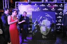 EriK BLACK with Michelle RODRIGUEZ  Cannes Film Festival 2012 #Glitter Painting
