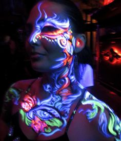 black light body makeup #light and #body and #fashion