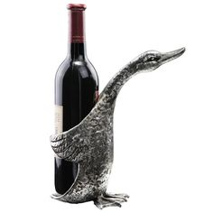 Duck Wine Bottle Holder made by Rustic Lodge. A ducky holds your wine! Carafe, Wine Bottle Holders, In Vino Veritas, Looks Cool, Wine Cellar, Sculpture, Things To Buy, Wines, Decoration