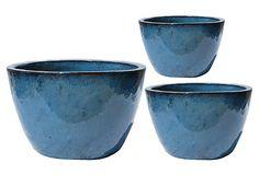 "S/3 Bowl Set of 3,   Made of: terracotta, Dimensions:15""Dia. x 9.8""H  9.8""Dia. x 7.9""H  7.9""Dia. x 5.1""H  Color: blue Planters, Blue, $59  https://www.onekingslane.com/product/14317/725544#"