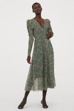 Svart halvlång tunika chiffong klänning lång spets ärmar