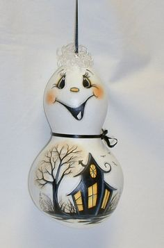 Halloween Ghost Gourd with Haunted House  Hand by FromGramsHouse