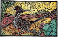 Lisa Krieshok The Greater Roadrunner. 30 x Runner Tattoo, Southwestern Art, Scratch Art, Owl Photos, Desert Art, Bird Drawings, Linocut Prints, Road Runner, Art Party