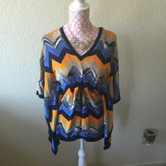Michael Kors Chevron Butterfly Style Top Beautiful top, ties under chest. Has MK logo on ties. Can fit XS/S Michael Kors Tops