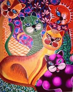 I Gatti nell'Arte cats in art pink orange green