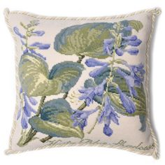 """Hand needlepointed luxury pillow featuring the Shade Garden Hosta Blue Shadows on Cream background. Design stitched in 100% wool. Moire style backing fabric. Insert 50% down/ 50% polyester   Measures 16"""" x 16"""".  Ref. TSG1CRM"""