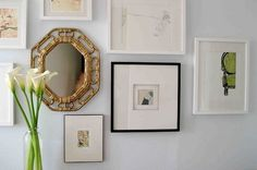 Suzie: SFGirlByBay  Beautiful ornate mirror! soft blue gray paint wall color.  blue green gray ...