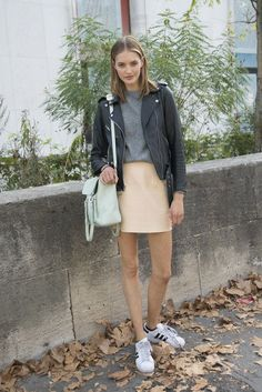 moto jacket, mint green bag, peach skirt & adidas sneaker a