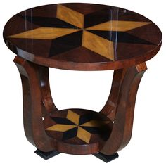 French Art Deco Exotic Walnut, Star Inlay Accent Table