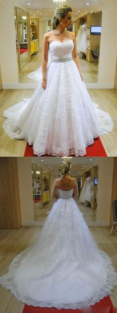 A-line Wedding Dresses Sweetheart, Lace Wedding Dresses Vintage, Country Bridal Dresses Romantic