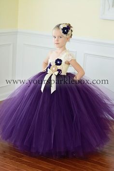 Plum, Lapis and Ivory Tutu Dress Flower Girl by YourSparkleBox