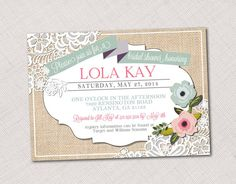 Burlap and Lace Floral Wedding, Shower or Party Invitation, Program or Menu