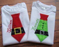 elf applique design | Santa Tie Applique - Elf Tie applique shirt - Christmas shirt for boys ...