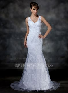Trumpet/Mermaid V-neck Court Train Satin Tulle Wedding Dress With Lace (002004597)