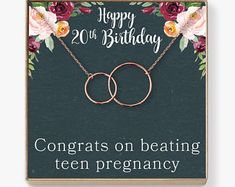 20th Birthday Gift Necklace: Birthday Gift, Two Decades, Gift For Her, 2 Interlocking Circles