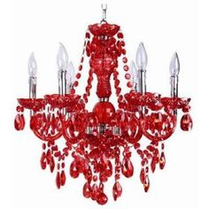 This is better than the thousands of dollars the Skouras one costs -Concerto 6-Light Hanging Red and Chrome Chandelier Light with Lucite Drops-708/6-R at The Home Depot