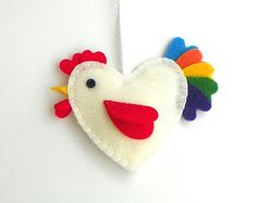 White Felt Rooster Ornament with Colorful Tail