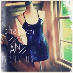 """F21 Chevron Sequin Racerback Tank/Dress Bought these from another posher, intending to wear as a dress but its too short for me at 5'7"""" It can be worn as a long tank but I have plenty of dressy tops right now so I just don't need it!! Black and blue sequins laid out in a trending-now chevron design on front, plain black slinky material in back. Semi sheer in front- would need to be worn with a slip if you intend it as a dress!! Forever 21 Dresses"""